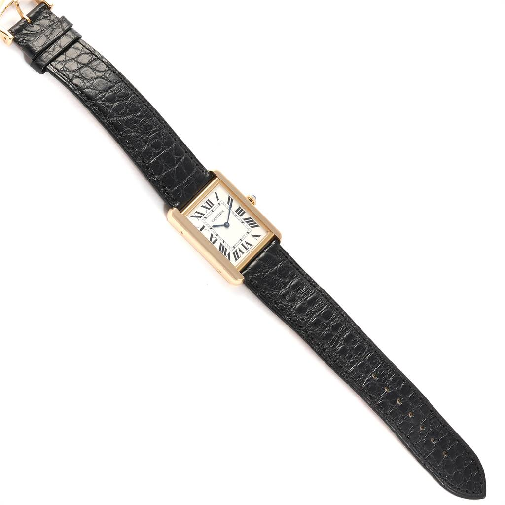 Cartier Tank Solo Yellow Gold Steel Mens Watch W1018855 Box Papers SwissWatchExpo