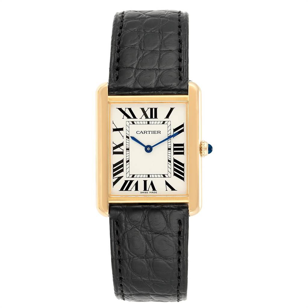 24125 Cartier Tank Solo Yellow Gold Steel Mens Watch W1018855 Box Papers SwissWatchExpo