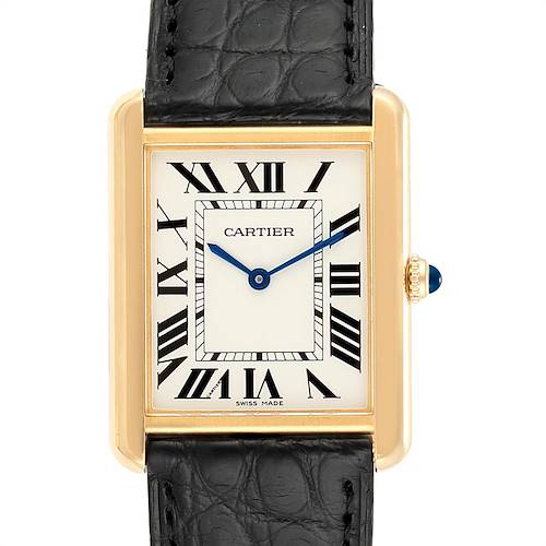 Photo of Cartier Tank Solo Yellow Gold Steel Mens Watch W1018855 Box Papers
