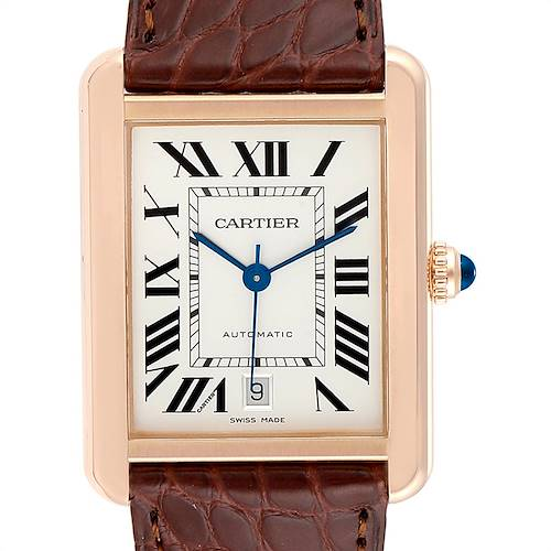 Photo of Cartier Tank Solo XL Rose Gold Steel Mens Watch W5200026 Box Papers
