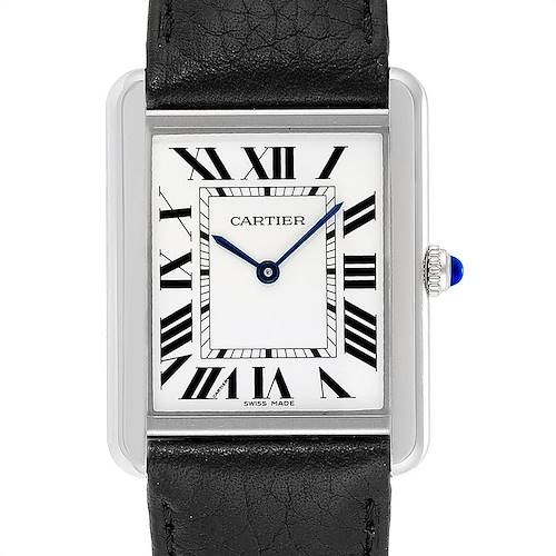 Photo of Cartier Tank Solo Steel Black Strap Unisex Watch W1018355 Box Papers