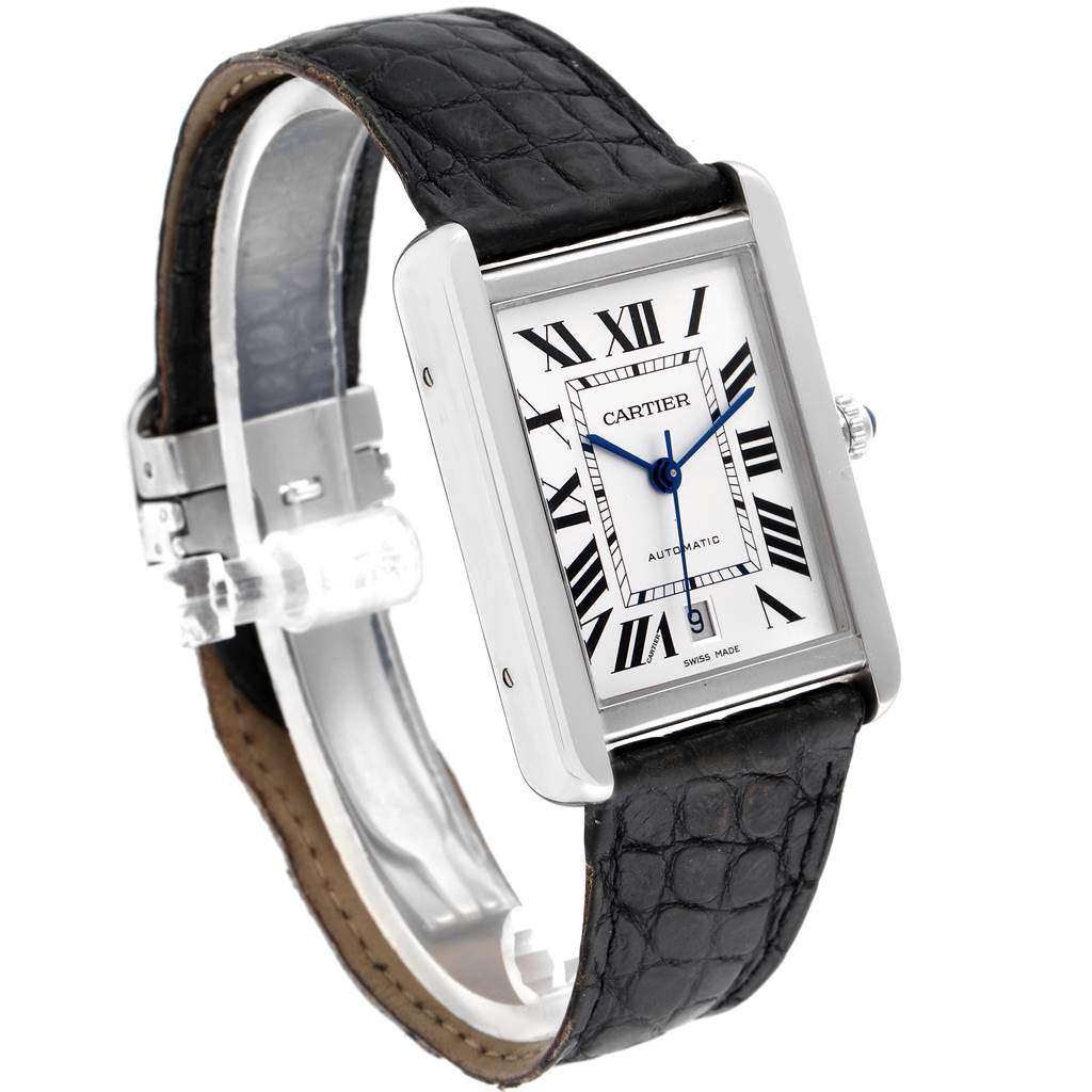 24954 Cartier Tank Solo XL Automatic Date Stainless Steel Mens Watch W5200027 SwissWatchExpo