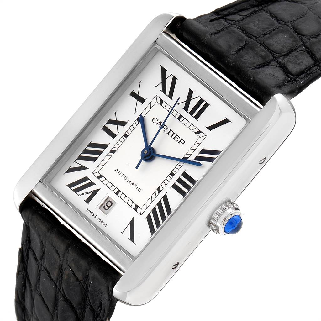Cartier Tank Solo XL Automatic Date Stainless Steel Mens Watch W5200027 SwissWatchExpo