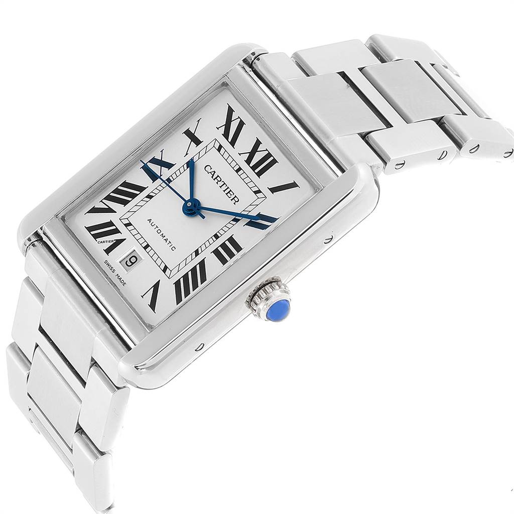 Cartier Tank Solo XL Silver Dial Steel Mens Watch W5200028 SwissWatchExpo