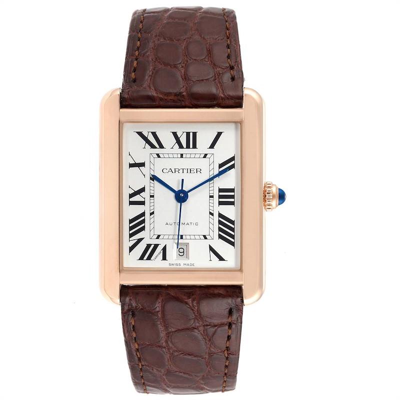 Cartier Tank Solo XL Rose Gold Silver Dial Steel Mens Watch W5200026 SwissWatchExpo