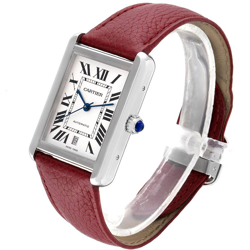 Cartier Tank Solo XL Burgundy Strap Steel Mens Watch W5200027 Box Papers SwissWatchExpo