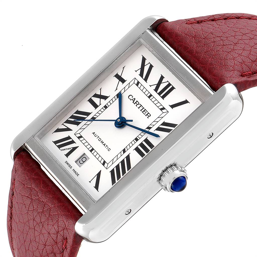 25269 Cartier Tank Solo XL Burgundy Strap Steel Mens Watch W5200027 Box Papers SwissWatchExpo