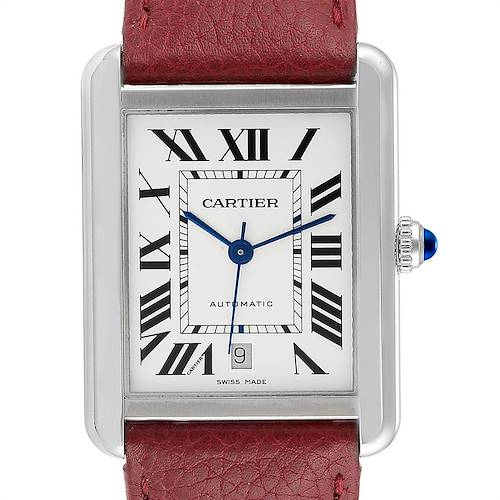 Photo of Cartier Tank Solo XL Burgundy Strap Steel Mens Watch W5200027 Box Papers
