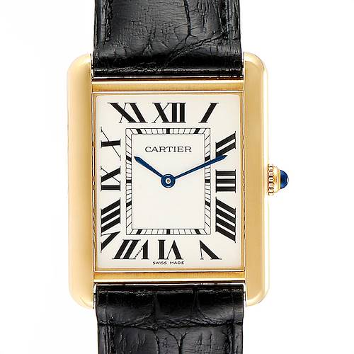 Photo of Cartier Tank Solo Yellow Gold Steel Black Strap Mens Watch W1018855