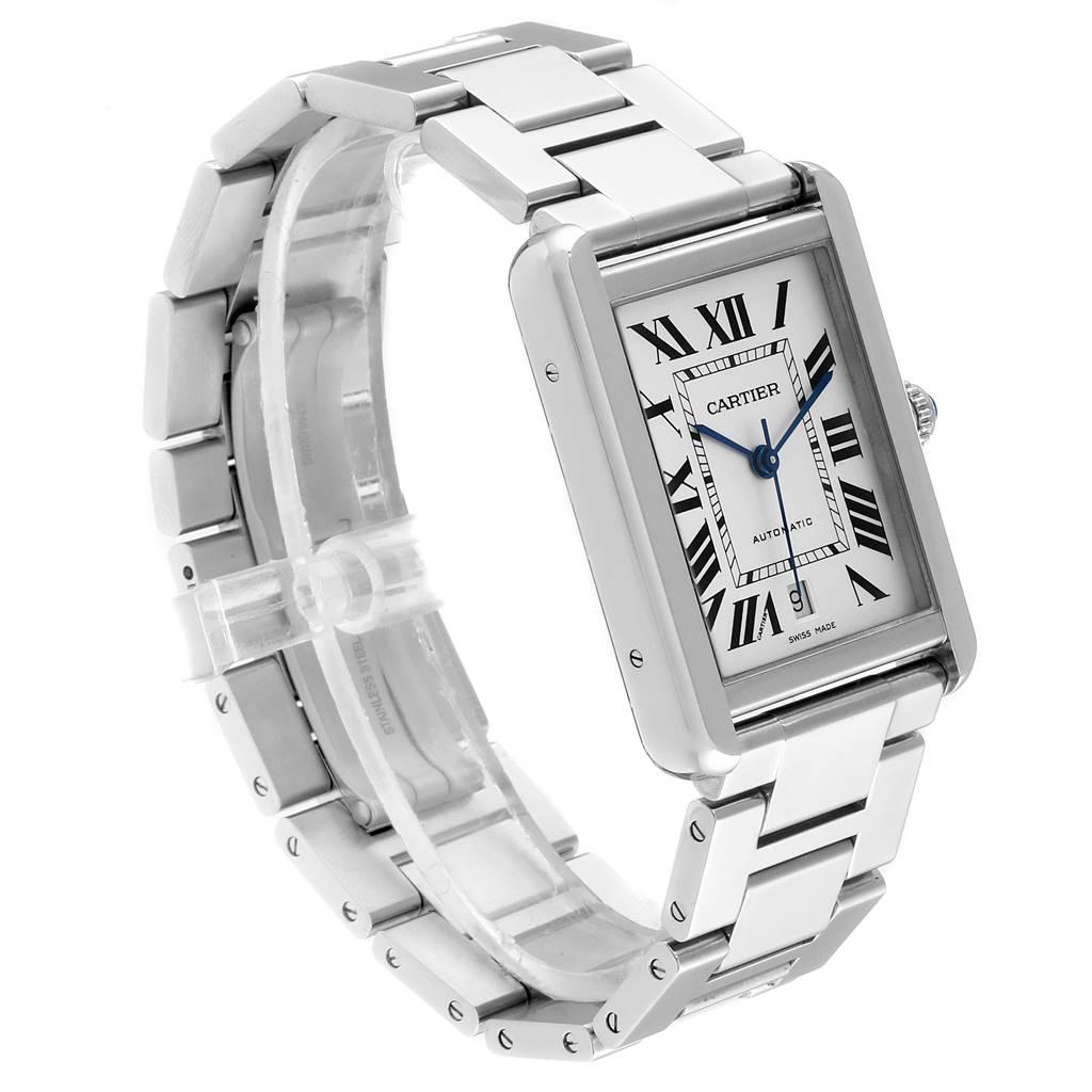 Cartier Tank Solo XL Silver Dial Automatic Steel Mens Watch W5200028 SwissWatchExpo