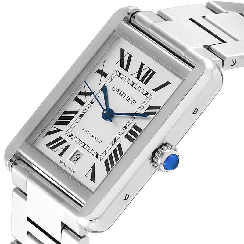 Cartier Tank Solo XL Silver Dial Automatic Steel Mens Watch W5200028 SwissWatchExpo