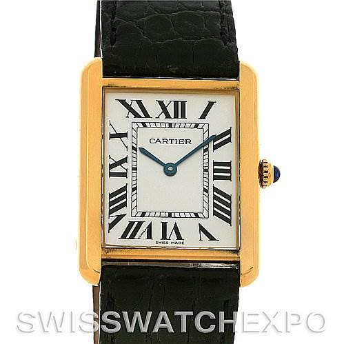 2781 Cartier Tank Solo Mens Steel Gold Watch W1018855 SwissWatchExpo