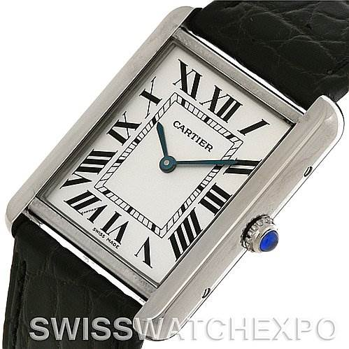 4073 Cartier Tank Solo Large Stainless Steel Watch W1018355 SwissWatchExpo