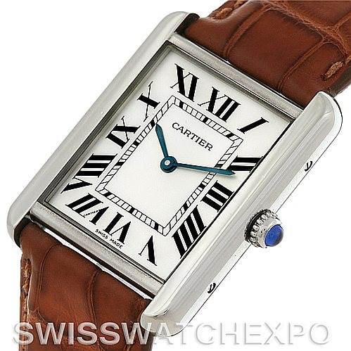 4576  Cartier Tank Solo Large Steel Watch W1018355 SwissWatchExpo