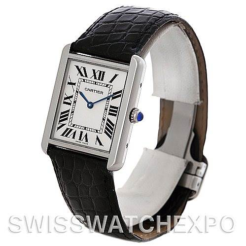 4657 Cartier Tank Solo Large Steel Watch W1018355 SwissWatchExpo