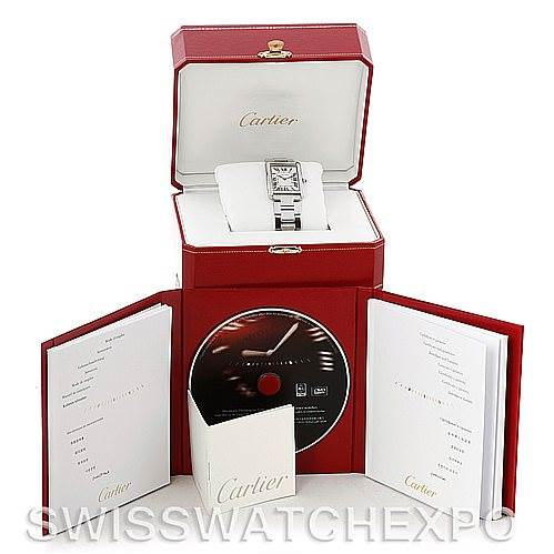 5104 Cartier Tank Solo Large Steel Watch W5200014 SwissWatchExpo
