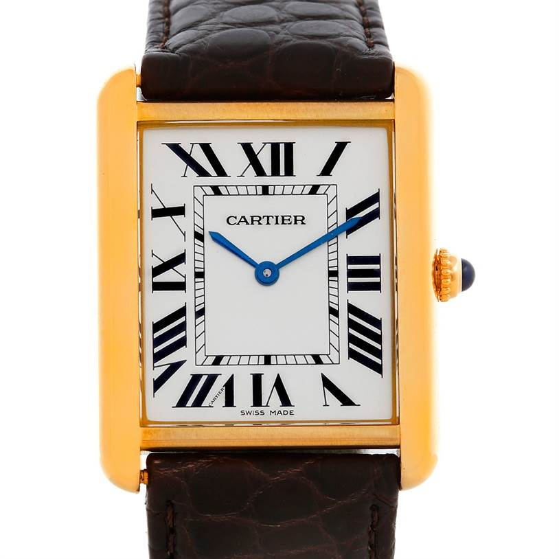 5655 Cartier Tank Solo 18kt Yellow Gold Mens Watch W1018855 SwissWatchExpo