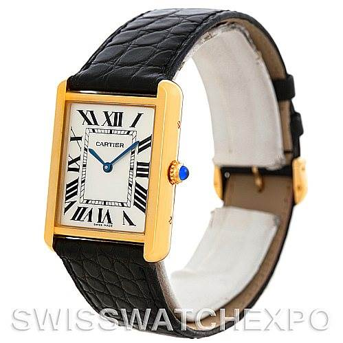 5840 Cartier Tank Solo 18k Yellow Gold Mens Watch W1018855 SwissWatchExpo