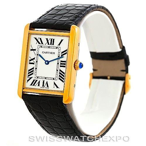 6201 Cartier Tank Solo 18k Yellow Gold Mens Watch W1018855 SwissWatchExpo