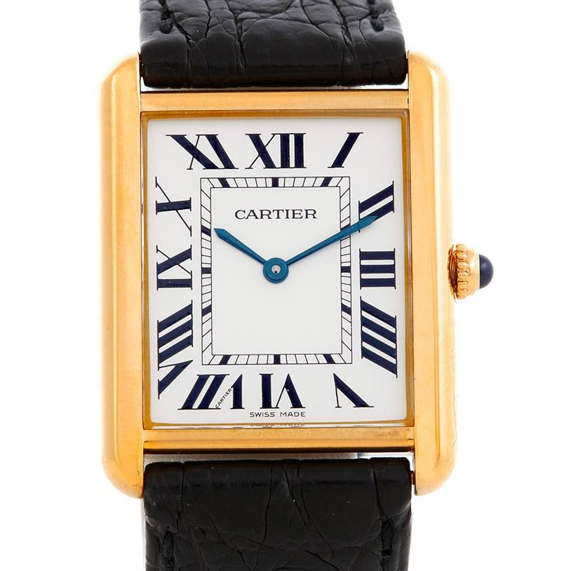 6242 Cartier Tank Solo 18k Yellow Gold Mens Watch W1018855 SwissWatchExpo