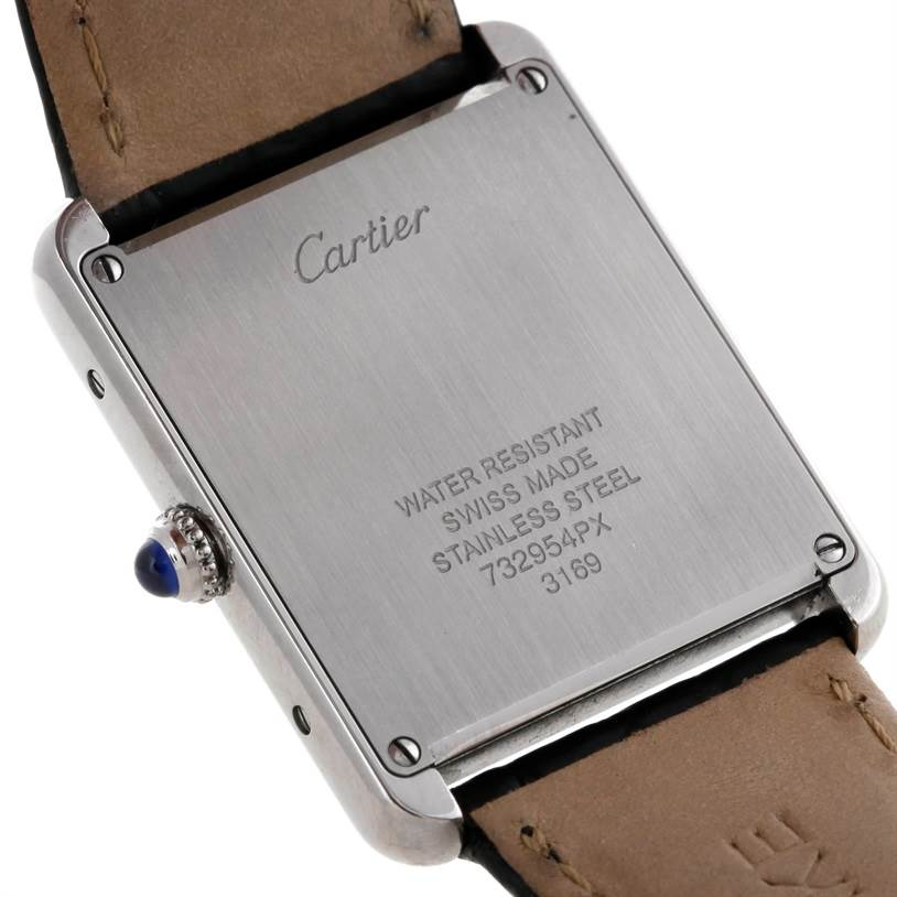 6386 Cartier Tank Solo Large Steel Watch W1018355 SwissWatchExpo