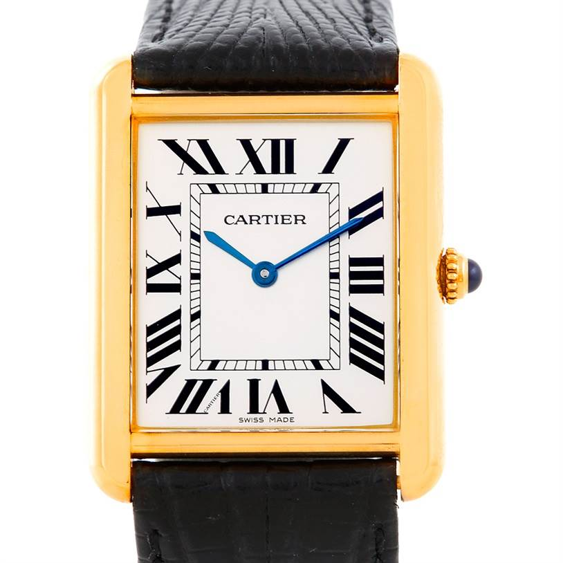 6514 Cartier Tank Solo 18k Yellow Gold Mens Watch W1018855 SwissWatchExpo