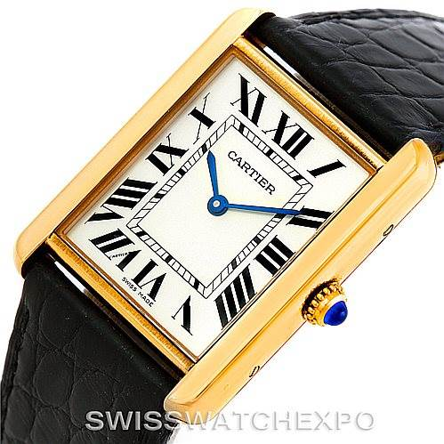 7170 Cartier Tank Solo 18k Yellow Gold Mens Watch W1018855 SwissWatchExpo