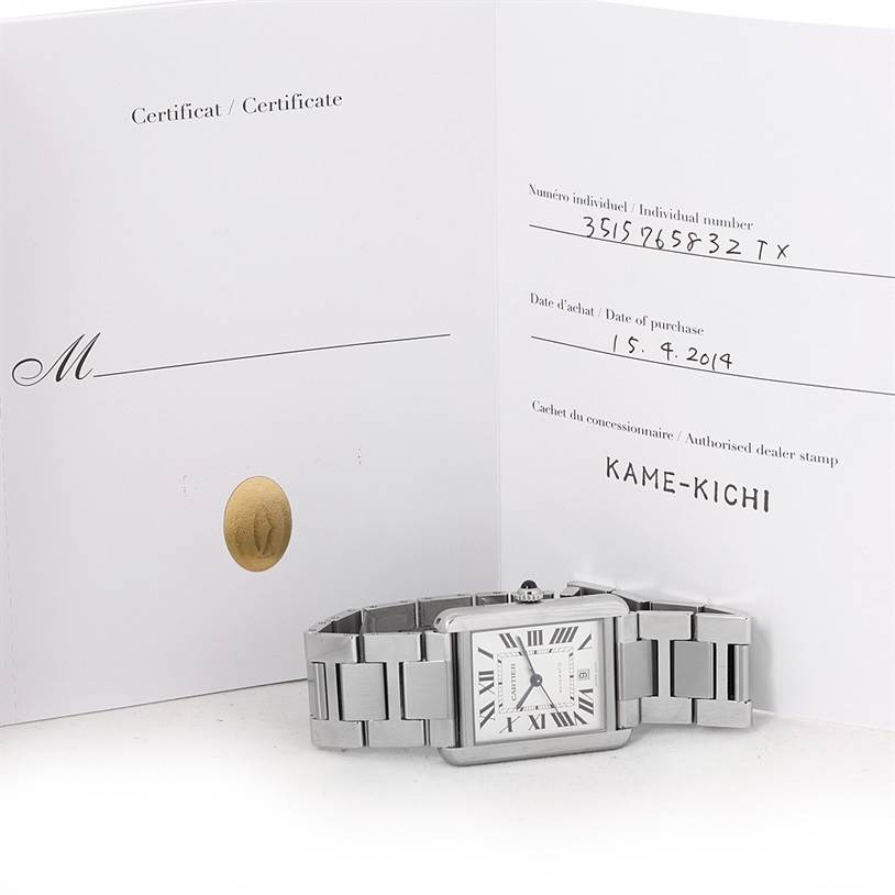 8337 Cartier Tank Solo XL Automatic Mens Watch W5200028 Box Papers SwissWatchExpo