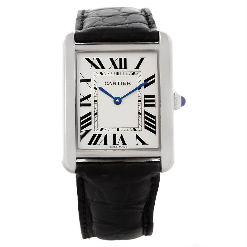 8272 Cartier Tank Solo Large Stainless Steel Black Strap Watch W1018355 SwissWatchExpo