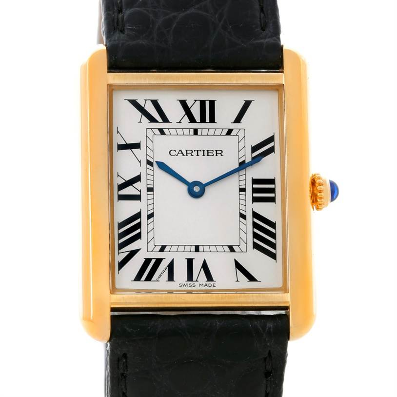 8594 Cartier Tank Solo 18k Yellow Gold Large Watch W1018855 SwissWatchExpo