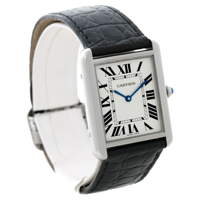 8307 Cartier Tank Solo Large Steel Watch W1018355 SwissWatchExpo