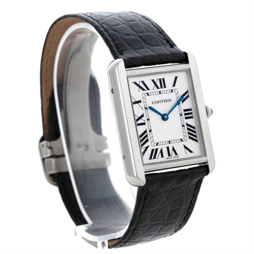 8896 Cartier Tank Solo Large Stainless Steel Watch W1018355 SwissWatchExpo