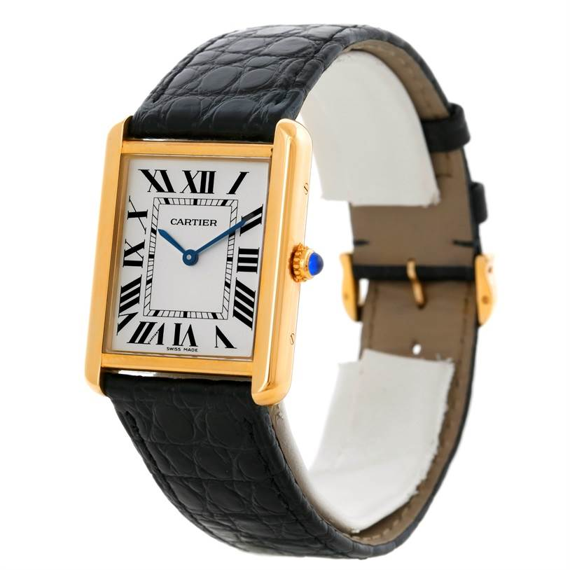 9082 Cartier Tank Solo 18k Yellow Gold Large Watch W1018855 SwissWatchExpo