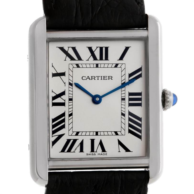 9084 Cartier Tank Solo Large Stainless Steel Watch W1018355 SwissWatchExpo
