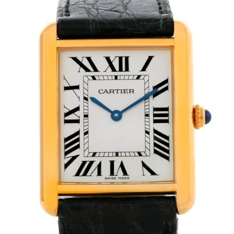 9214 Cartier Tank Solo 18k Yellow Gold Large Watch W1018855 SwissWatchExpo
