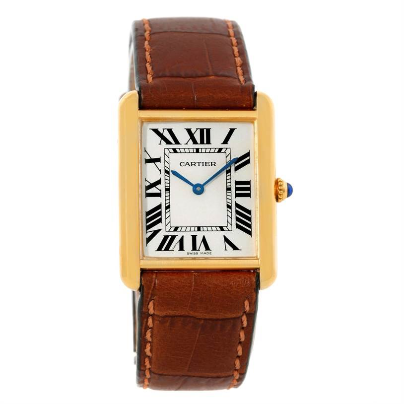 9627 Cartier Tank Solo 18k Yellow Gold Steel Large Watch W1018855 SwissWatchExpo
