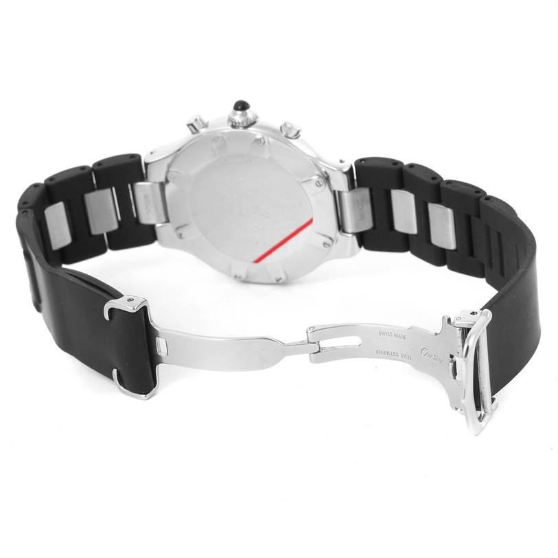 13051A Cartier Must 21 Chronoscaph Black Rubber Strap Mens Watch W10125U2 SwissWatchExpo