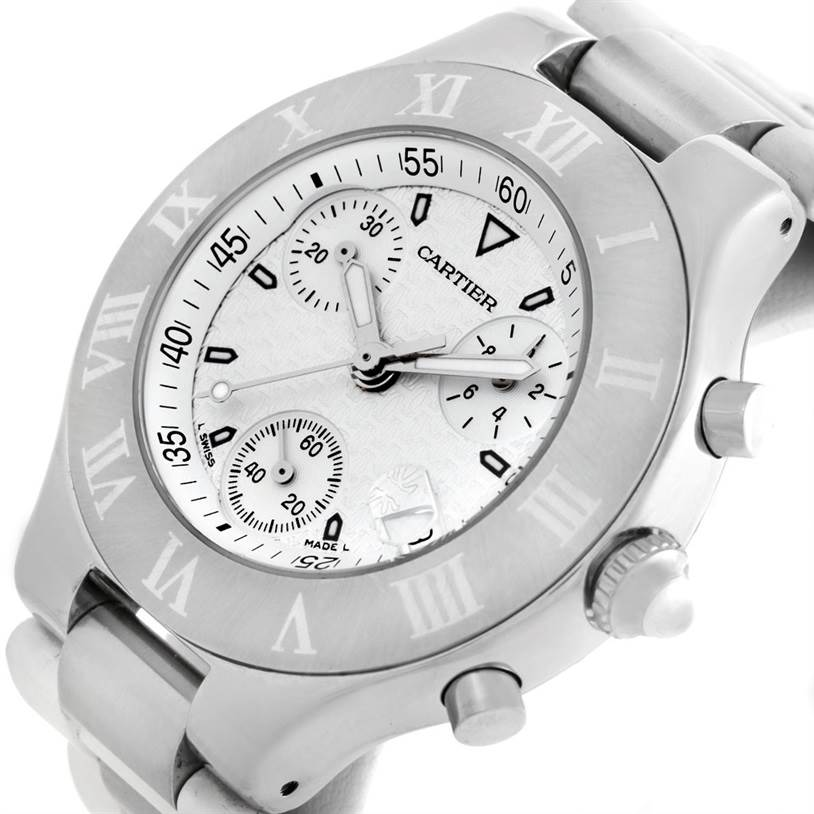 Cartier Must 21 Chronoscaph White Ruber Unisex Watch W10184U2 SwissWatchExpo