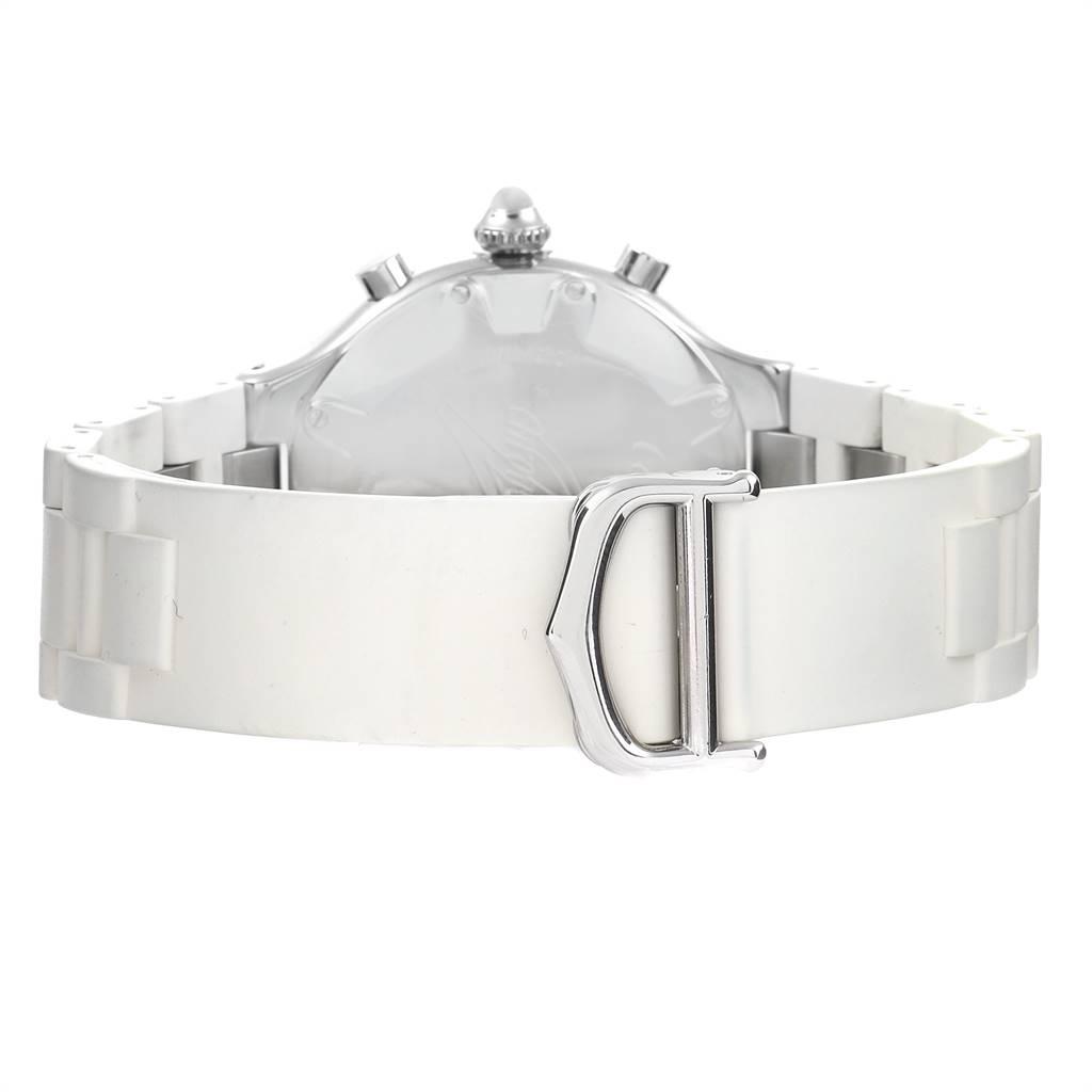 Cartier Must 21 Chronoscaph White Rubber Unisex Watch W10184U2 SwissWatchExpo
