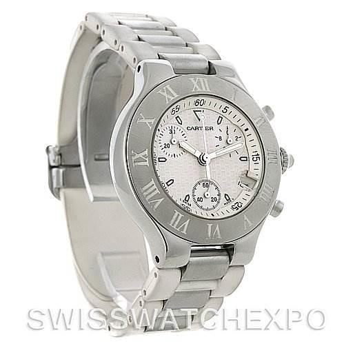 Cartier Must 21 Chronoscaph Men's White Dial Rubber Strap Watch W10184U2 SwissWatchExpo