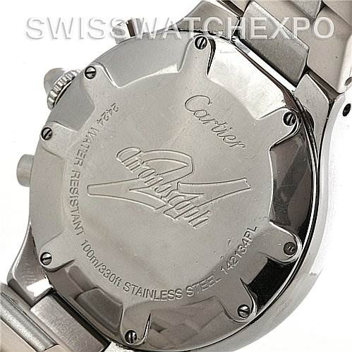 2998 Cartier Must 21 Chronoscaph Men's White Dial Rubber Strap Watch W10184U2 SwissWatchExpo