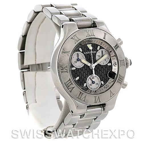 3017 Cartier Must 21 Chronoscaph Mens Watch Black Dial Steel Bracelet W10172T2 SwissWatchExpo