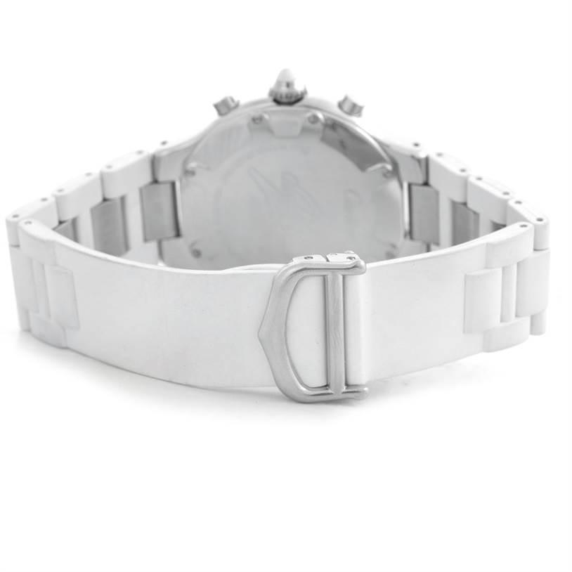 6152 Cartier Must 21 Chronoscaph White Ruber Unisex Watch W10184U2 SwissWatchExpo