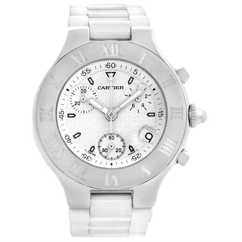 Cartier Must 21 Chronoscaph White Rubber Mens Watch W10184U2 SwissWatchExpo