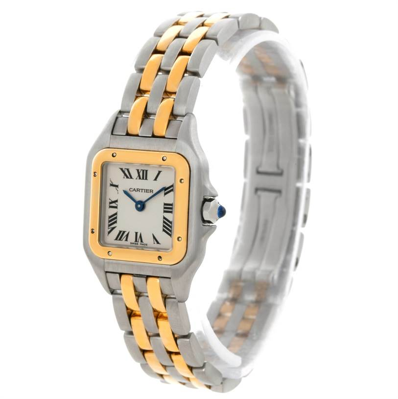 9083 Cartier Panthere Ladies Steel 18K Yellow Gold 2 Row Watch W25029B6 SwissWatchExpo