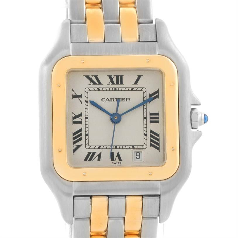 8772 Cartier Panthere Large Steel 18K Yellow Gold 2 Row Watch W25028B8 SwissWatchExpo