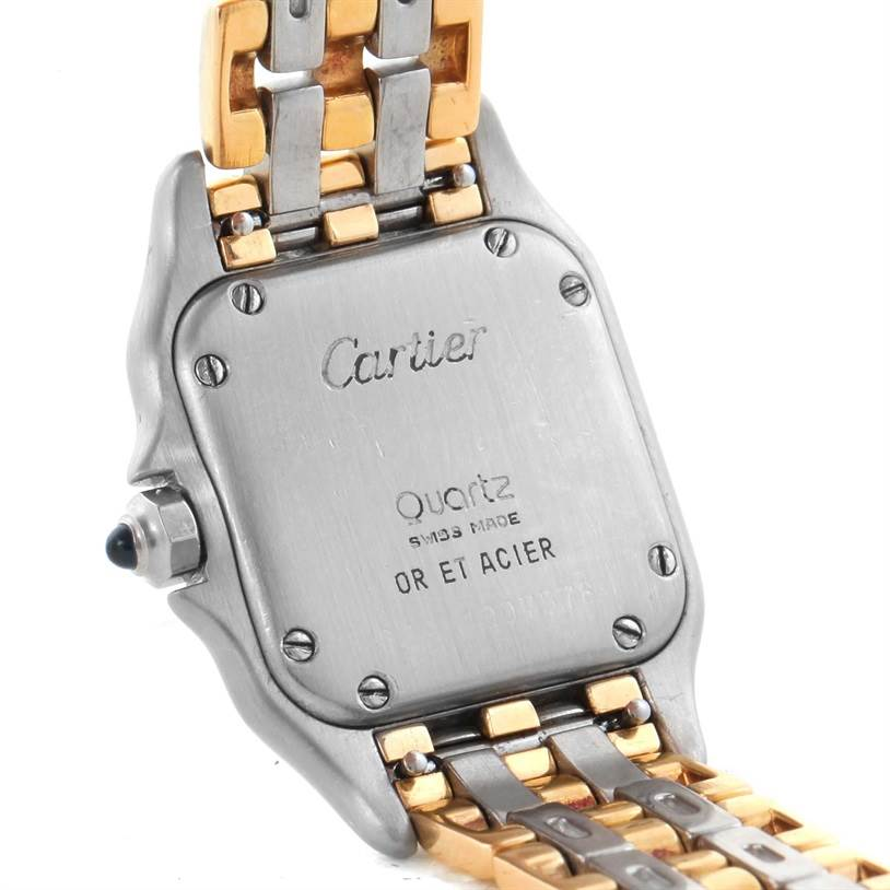 11595 Cartier Panthere Ladies Steel 18K Yellow Gold 3 Row Watch W25029B6 SwissWatchExpo
