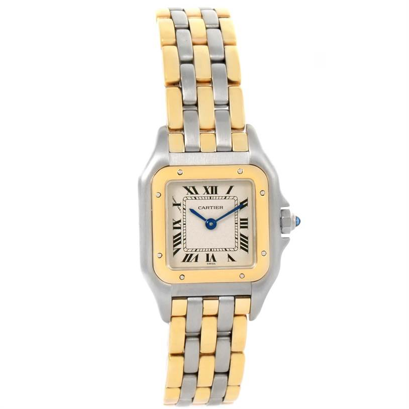 12323 Cartier Panthere Ladies Steel 18K Yellow Gold 3 Row Watch W25029B6 SwissWatchExpo