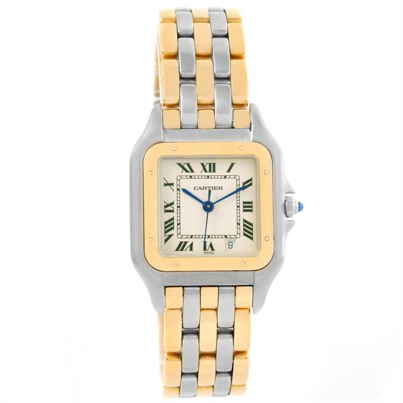 11766 Cartier Panthere Large Steel 18K Yellow Gold Date Watch W25028B6 SwissWatchExpo