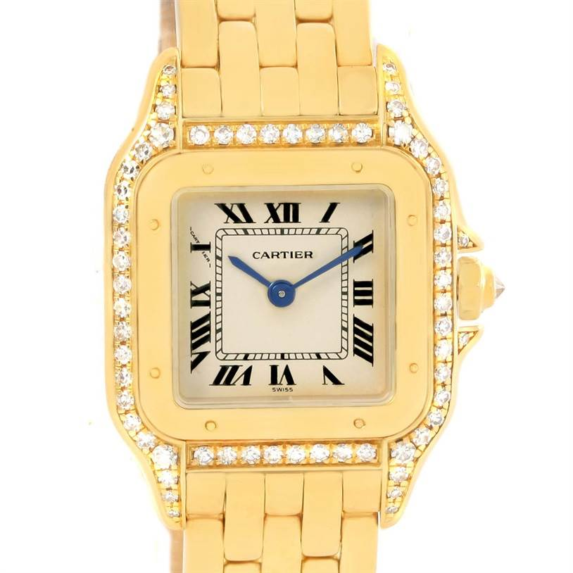 12481 Cartier Panthere Ladies 18k Yellow Gold Diamond Watch W25022B9 SwissWatchExpo